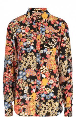 Шелковая блуза с контрастным принтом и накладными карманами No. 21. Цвет: разноцветный
