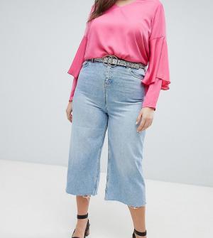 New Look Plus Укороченные джинсы с широкими штанинами Curve. Цвет: синий