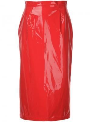 Юбка-карандаш с эффектом лакированной кожи G.V.G.V.. Цвет: красный