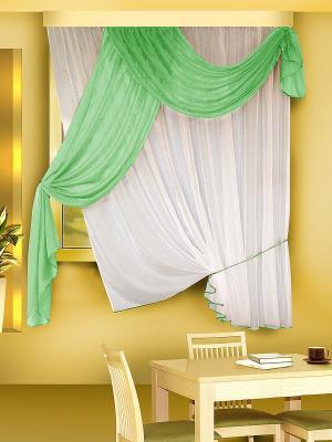 Комплект штор ZLATA KORUNKA. Цвет: зеленый, белый