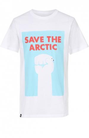 Хлопковая футболка с принтом Dedicated. Цвет: белый
