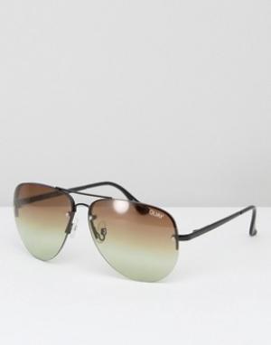 Quay Australia Солнцезащитные очки-авиаторы с эффектом деграде Muse. Цвет: коричневый