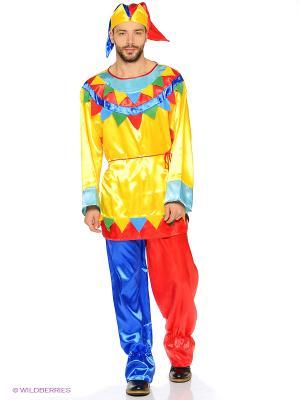 Карнавальный Костюм Скоморох Волшебный мир. Цвет: светло-желтый, красный