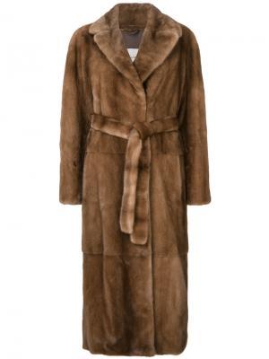 Длинное норковое пальто Yves Salomon. Цвет: телесный