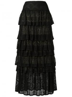 Трикотажная юбка макси Cecilia Prado. Цвет: чёрный