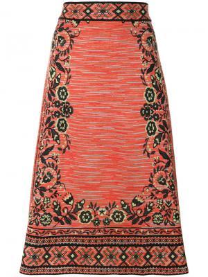 Трикотажная юбка миди M Missoni. Цвет: жёлтый и оранжевый