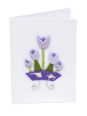 Открытка Лиловые тюльпаны, 8*12 см. DEEPOT. Цвет: зеленый, белый, лиловый