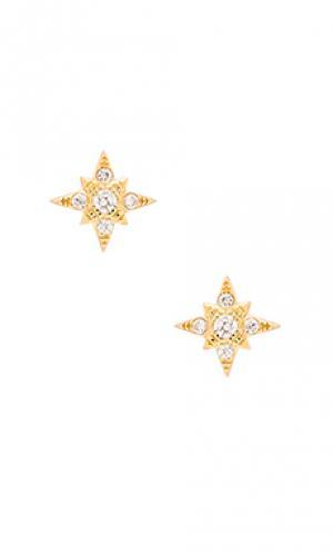 Серьги звездочки Jacquie Aiche. Цвет: металлический золотой
