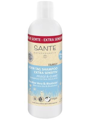 Family шампунь для ежедневного использования чувствительной кожи с Био-Алоэ и Бисабололом Sante. Цвет: прозрачный