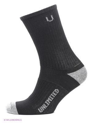 Носки спортивные 3 пары Unlimited. Цвет: черный, серый меланж