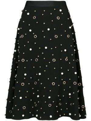 Декорированная юбка Edward Achour Paris. Цвет: чёрный
