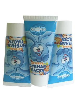 Детская зубная паста Конфетная,3 шт Смешарики. Цвет: синий