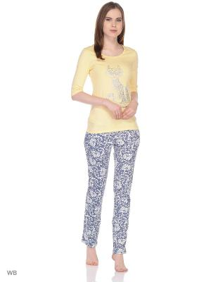 Пижама ГАРМОНИЯ.. Цвет: желтый, темно-синий