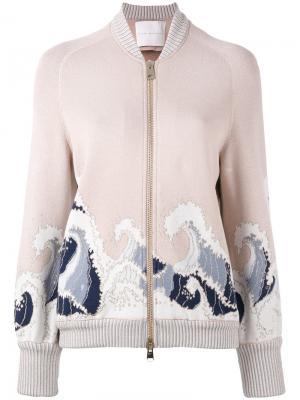 Куртка-бомбер  с волнистым узором Giada Benincasa. Цвет: розовый и фиолетовый