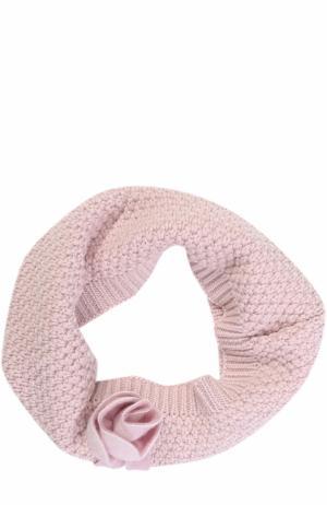 Шерстяной шарф-снуд фактурной вязки с декором Catya. Цвет: розовый