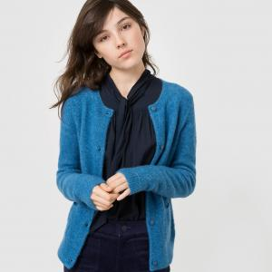 Кардиган из ворсистого трикотажа MADEMOISELLE R. Цвет: серый меланж,синий