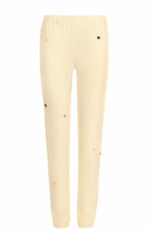 Укороченные хлопковые брюки с вышивкой Wildfox. Цвет: бежевый