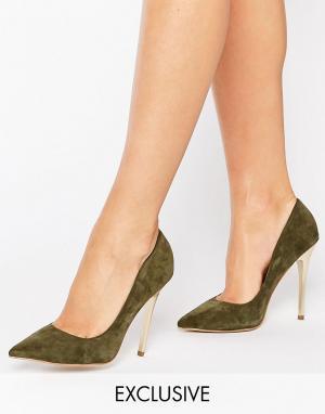 Office Замшевые туфли на золотистом каблуке Shop. Цвет: зеленый
