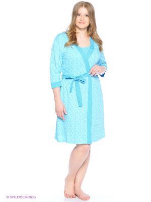 Комплект домашней одежды (халат, ночная сорочка) HomeLike. Цвет: голубой
