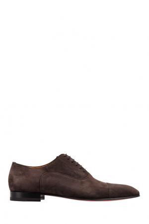 Замшевые туфли Greggo Flat Veau Velours Christian Louboutin. Цвет: коричневый