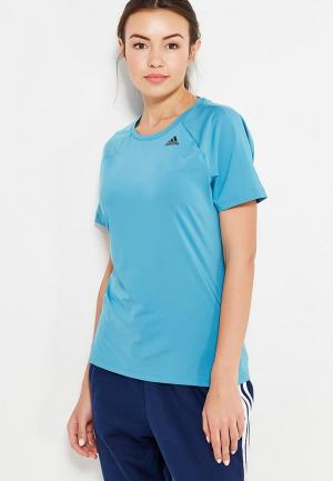 Футболка спортивная adidas Performance. Цвет: голубой