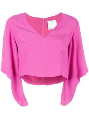 Укороченная блузка с V-образным вырезом C/Meo. Цвет: розовый и фиолетовый