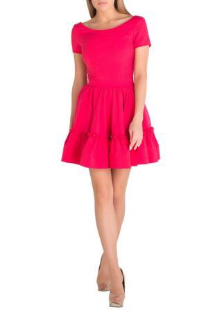 Короткое платье с воздушной юбкой Eva Davidova. Цвет: малиновый