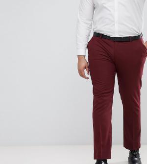 ASOS Темно-бордовые облегающие брюки под смокинг DESIGN Plus. Цвет: красный