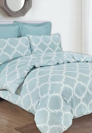 Комплект постельного белья Евро Sofi De Marko. Цвет: бирюзовый