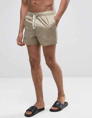 ASOS Короткие шорты для плавания из нейлонового рипстопа. Цвет: бежевый