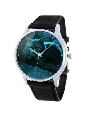 Дизайнерские часы Чешир Tina Bolotina. Цвет: черный, темно-синий, синий, голубой