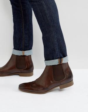 ASOS Коричневые кожаные ботинки челси с отделкой под броги. Цвет: коричневый
