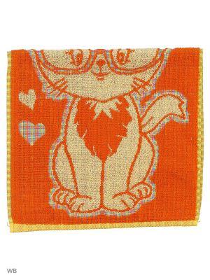 Полотенце махровое пестротканое жаккардовое Влюблёнчик киска Авангард. Цвет: оранжевый, розовый