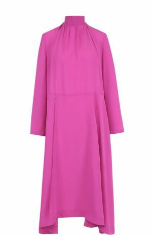 Шелковое платье асимметричного кроя с воротником-стойкой Balenciaga. Цвет: розовый