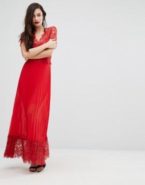 Body Frock Плиссированное платье миди с кружевной отделкой лифа Bodyfrock. Цвет: красный