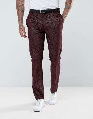 ASOS Бордовые брюки скинни под смокинг из бархата с узором пейсли. Цвет: красный