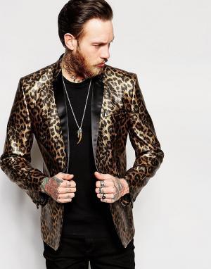 ASOS Приталенный пиджак с леопардовым принтом. Цвет: золотой