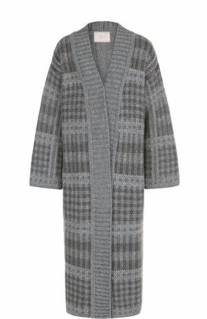 Удлиненное вязаное пальто прямого кроя Tak.Ori. Цвет: серый