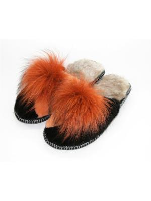 Туфли комнатные - тапочки Тефия. Цвет: оранжевый, черный, серый