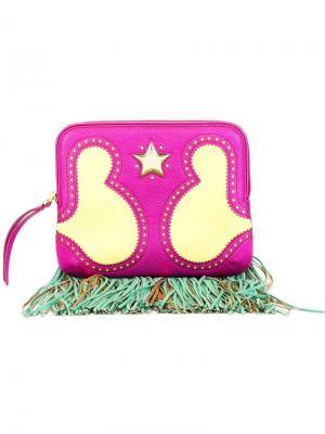 Клатч с бахромой The Volon. Цвет: розовый и фиолетовый