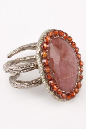 Кольцо Estrosia. Цвет: серебро, розовый, оранжевый