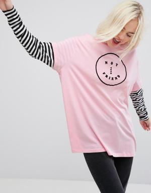 Lazy Oaf Оверсайз-футболка с длинными рукавами и отделкой. Цвет: розовый