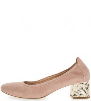 Розовые замшевые туфли на устойчивом каблуке UNISA. Цвет: розовый