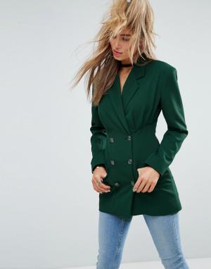 ASOS Удлиненный блейзер с пуговицами в стиле милитари Tailored. Цвет: зеленый
