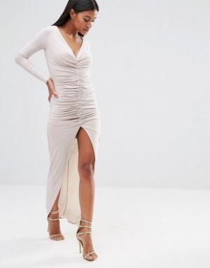 Club L Платье макси с длинными рукавами и сборками. Цвет: stone