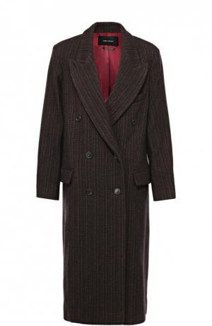 Удлиненное двубортное пальто с широкими лацканами Isabel Marant. Цвет: бордовый