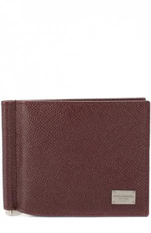 Кожаный зажим для денег Dolce & Gabbana. Цвет: бордовый