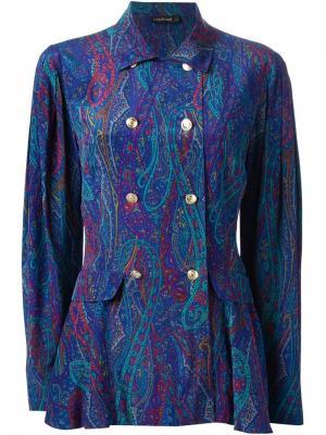 Костюм 80-х с юбкой Louis Feraud Vintage. Цвет: синий
