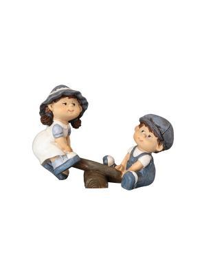 Фигурка декоративная Дети на качелях Elan Gallery. Цвет: бежевый, белый, синий