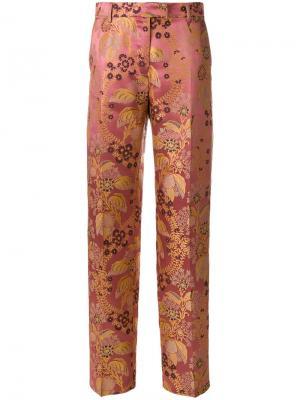 Брюки с завышенной талией и цветочным принтом Etro. Цвет: розовый и фиолетовый